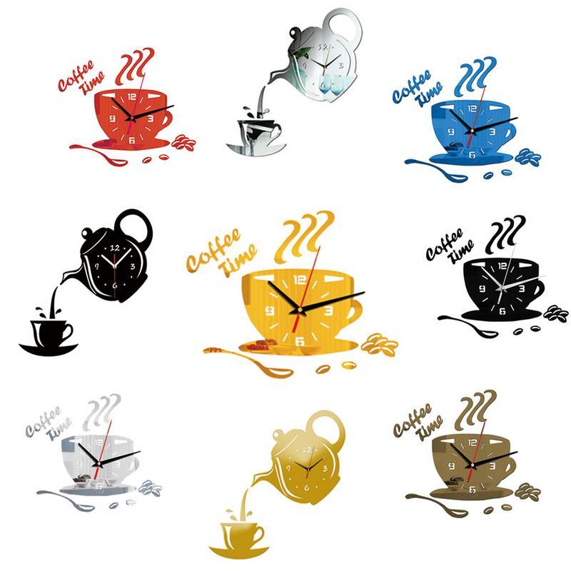 3D קומקום שעון קיר אפקט מראה שעון אקריליק DIY קיר מדבקות קפה כוס צורת בית מטבח קישוט