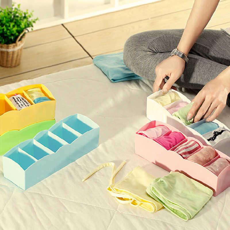 Органайзер для носков, бюстгальтеров, галстуков, многофункциональных настольных ящиков, ящик для хранения одежды, пять ячеек, коробка для хранения, случайный цвет 8A0093