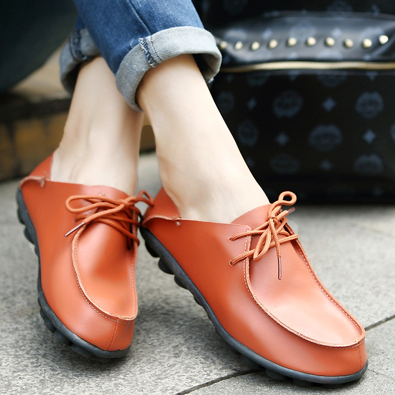 Shoes Woman 2018 Genuine Leather Women Shoes Flats 3 Colors Loafers cow Slip On Womens Flat Shoes Moccasins Plus Size 35-40