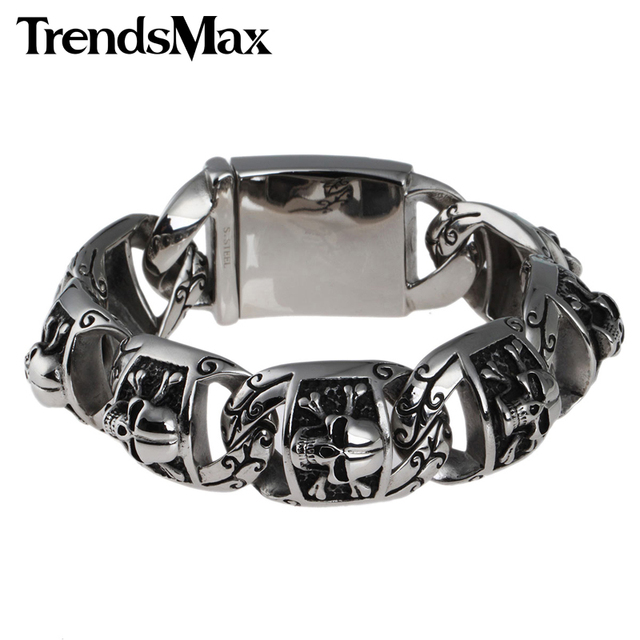 74444986a6bdf Trendsmax Gothic Biker 20mm Heavy Mens Chain Boys Pirate Skull Link 316L  Stainless Steel Bracelet Customize size Wholesale HB94-in Chain & Link ...