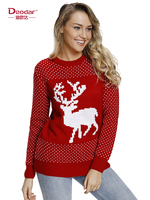 Deodar 2018 New Autumn Knitted Women Sweaters and Pullovers Cartoon Snowflake Printed Tops New Years Christmas Sweaters