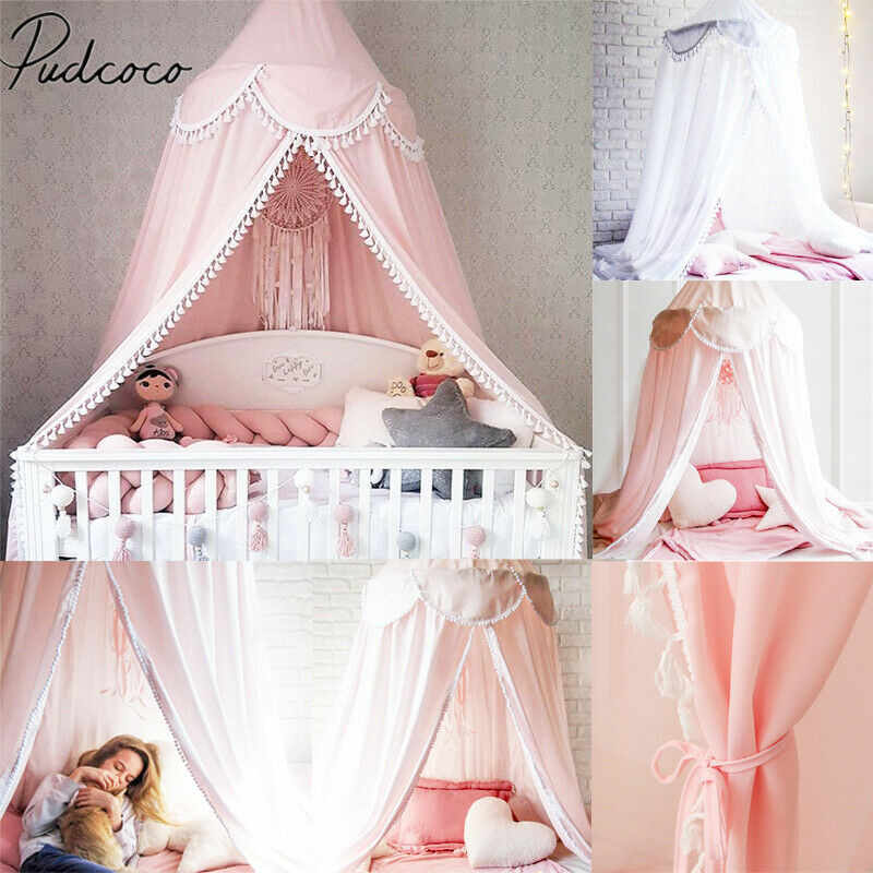 2019 Princess Baby Bed Mosquito Mesh Dome Curtain Net for Toddler Crib Cot Canopy Tassel Crib Netting