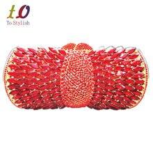 Stilvolle Rote Strass Luxus Kristall Damen Abend Kupplungen Bankett Tasche Elegante Diamante Gold Abendessen Tasche für Party Geldbörse 88195