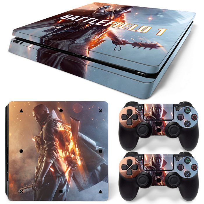 Gratis Drop Shipping Vinyl Dekal Skin Stickers för PS4 Slim Playstaion 2 Controllers-Battlefield 1 TN-P4Slim-1560