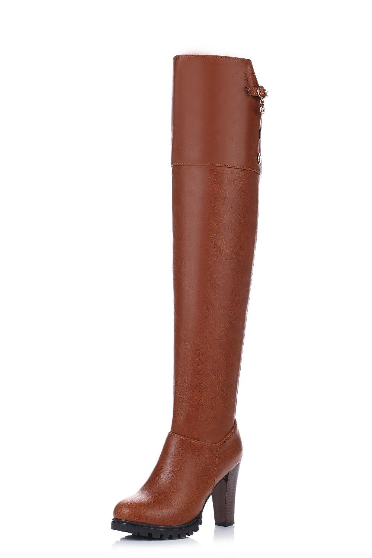 Frau Design Braun Rot Kappe Frauen Runde Elegante Heels 36Off 08 ursprüngliche Spike Winterstiefel Schuhe Us44 Absicht Über Plus Knie Stiefel N8vmn0w
