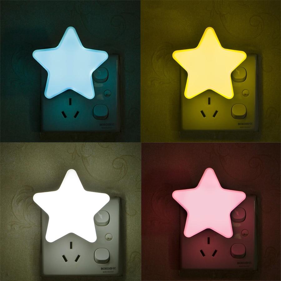 Thrisdar Star LED Night Light Light Sensor Plug-in Wall Lamp With EU/US Plug Auto Sensor Bedroom Bedside Baby kids Night Light