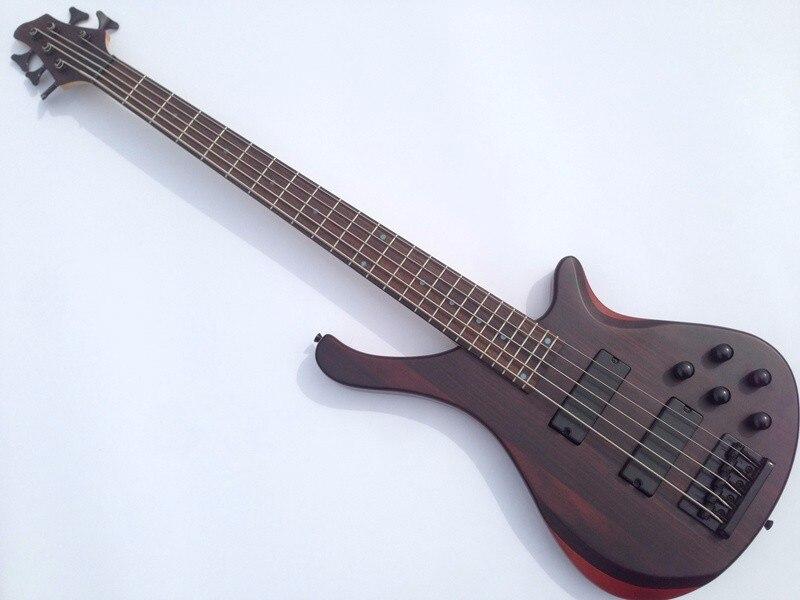 Qualité supérieure GYBS-9008 corps en tilleul d'érable + palissandre incrustation 5 cordes active ramassage bonne guitare basse, livraison gratuite