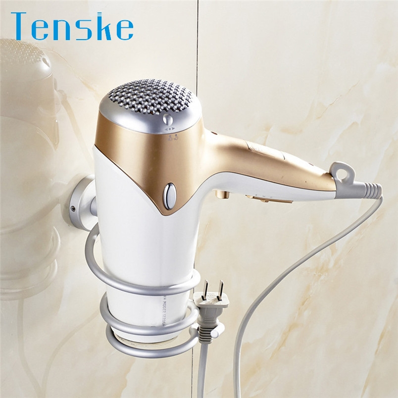 Tenske Wall Hair Dryer Rack Space Aluminum Bathroom Wall Holder Shelf Storage#20 2017 Gift 1pc wall holder Drop shipping