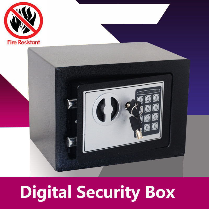 Digital Safe Box Small Household Mini Steel Safes Money Bank Safety Security Box Keep Cash Jewelry Or Document Securely With Key giantree portable money box 6 compartments coin steel petty cash security locking safe box password strong metal for home school