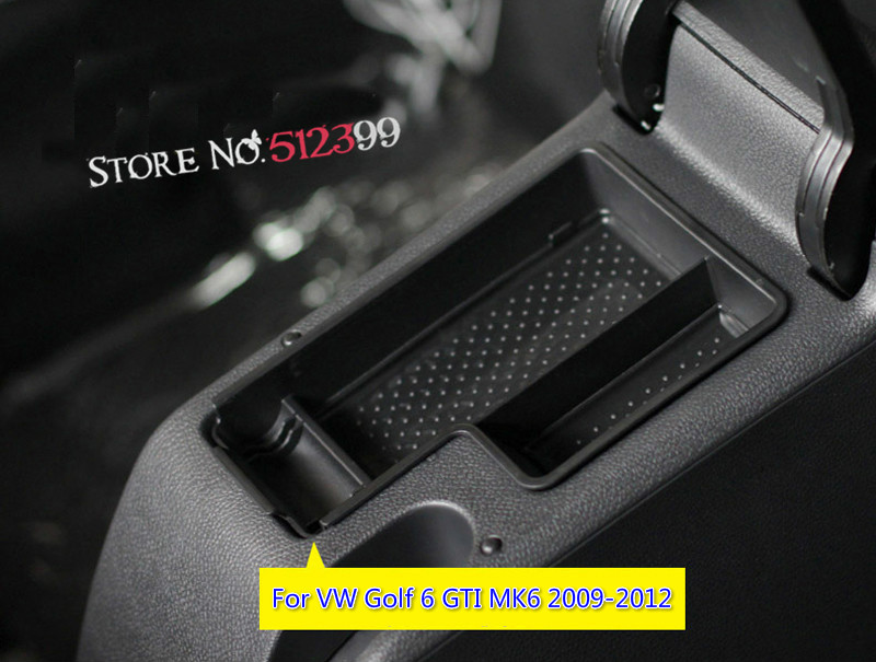 Left Hand Side Drive Car Organizer For VW Golf 6 GTI MK6 2009 2010 2011 2012 Central Armrest Storage Box Container Holder Tray