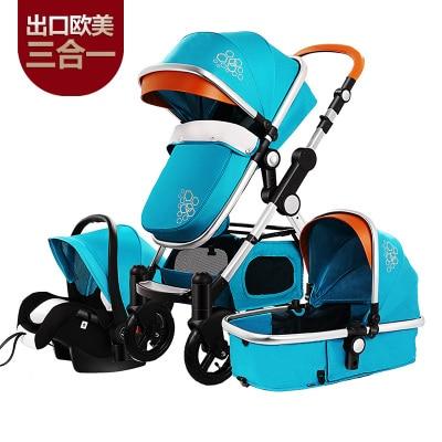 7.8 Luxury Infant Baby Stroller 3-in-1 Four Wheel Folding Travel System With Car Seat Cradle Sleeping Basket Stroller Pram