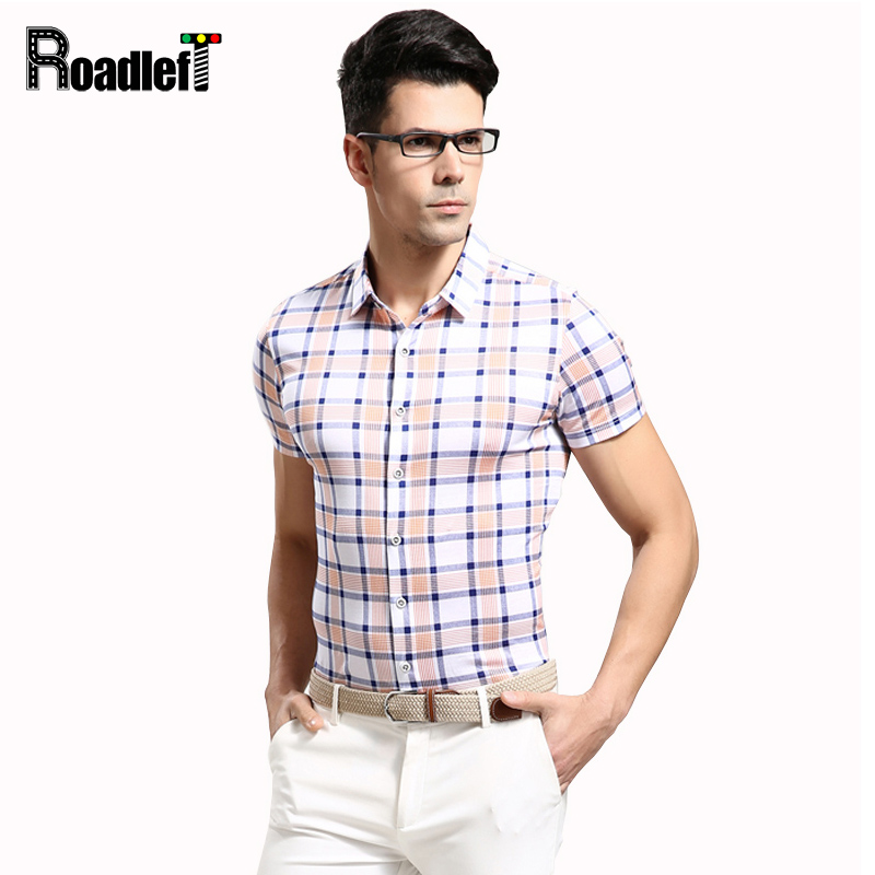 804488839785 2017 Summer Style High Quality Mens Cotton Business Casual Shirt Men Short  Sleeve Slim Fit Plaid Shirts Camisa Social Masculina
