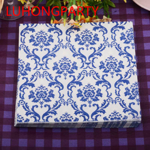 40pcs/lot flower food-grated decorative paper napkin vintage black and white decoupage for 2015 Christmas Wedding cafeshop party