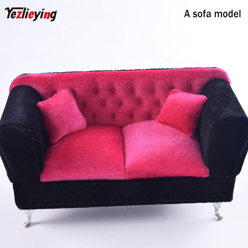 Elegant Black W Red Dollhouse Furniture Sofa Longue Couch Settee 1/6 Scale Recliner sofa chaise longue Deck chair/Recliner Model recliner