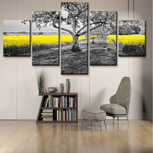 5 panel canvas painting black and white tree yellow Canola flower landscape picture HD living room wall art poster prints