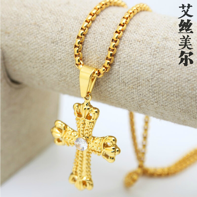 JHNBY Gold color Inlay zircon cross pendant Necklace High Quality