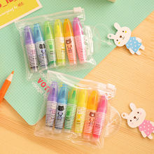 6 Pcs/set Rotuladores Highlighter Pen Novelty Cartoon Animals Highlighter Fluorescent Pen Markers Gift Stationery K6859
