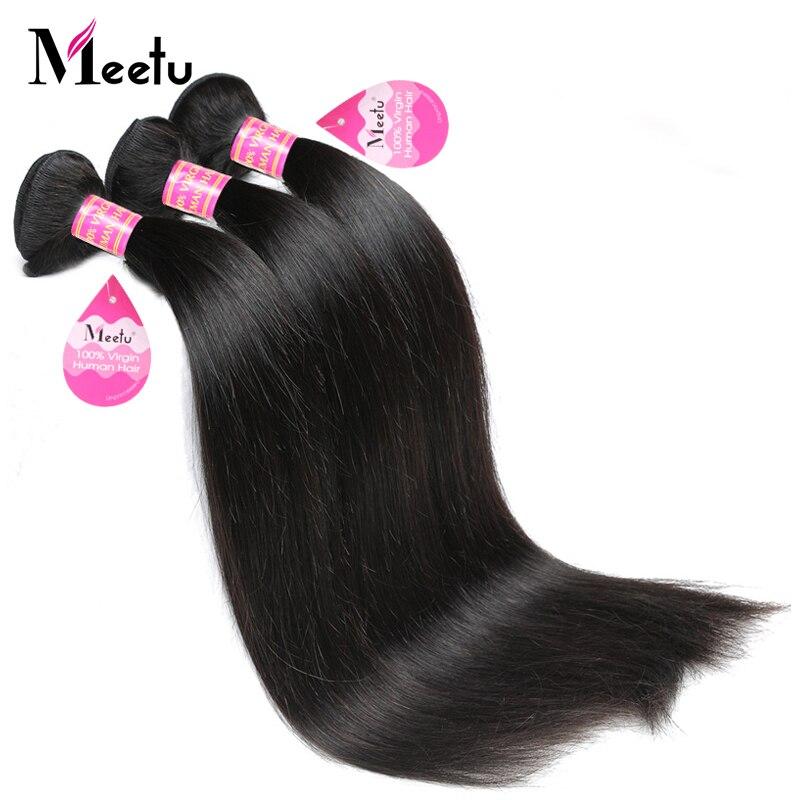Meetu Indian Straight Hair Bundles 100 Human Hair Weave 3 Bundles Deal Natural Color Non Remy
