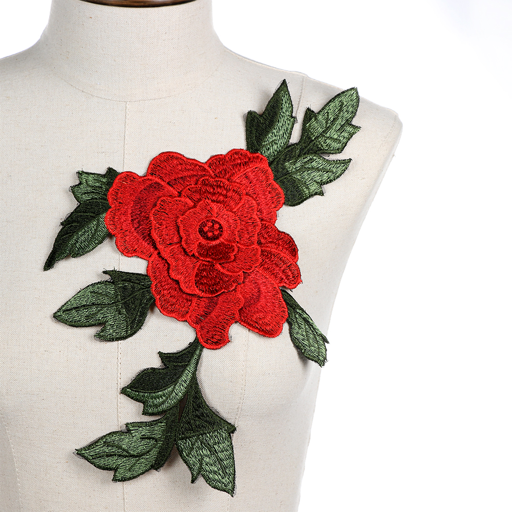 1PC Rose Flower Embroidery Patches Sticker for Clothes Parches Applique Embroidery Flower Patches Sewing Sew on Patch