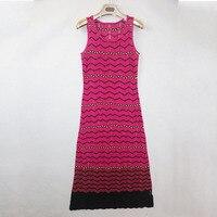 Micosoni 2017 Primavera Verão Outono Alta Qualidade Manual Weave Rainbow Color Senso De Seda Misturada Vestido de Malha Para Mulheres Maxi Dress