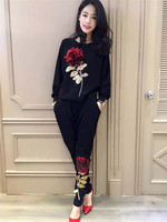 Women Stereoscopic Rose Sequins Knit Sweaters Pants 2 Piece Sets 2016 Autumn New High Quality Casual
