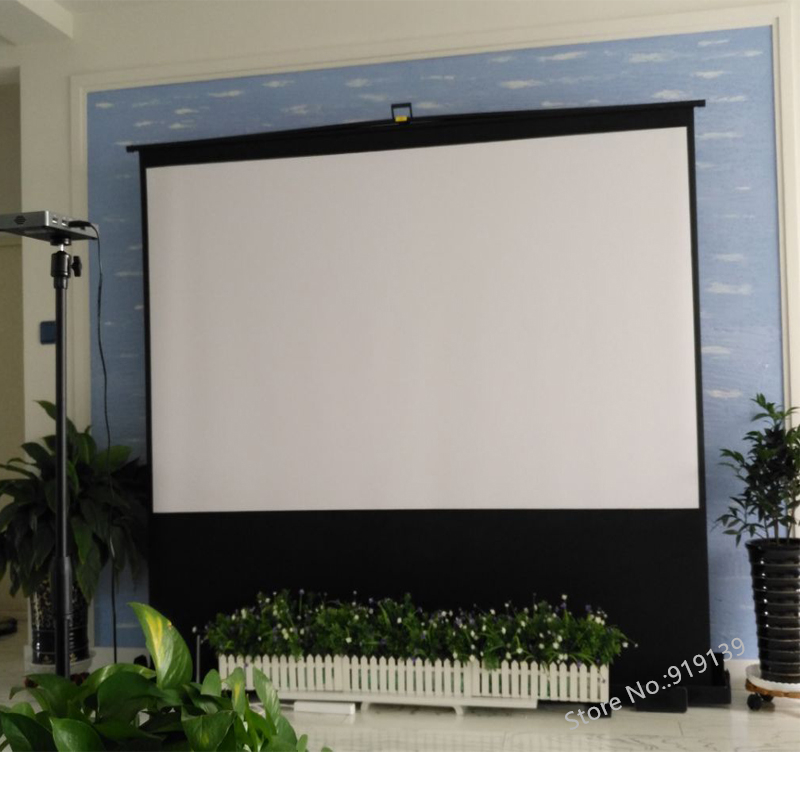 HD Portable Floor Rising Screen 100inch HDTV 16:9 Fabric Glass Material Pull Up Projector Screens For 3D Cinema School Office - 6