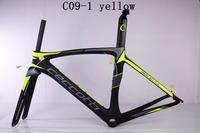 Fluo yellow color cadre carbone route 2017 PF30 BB Di2 mechanical both 2 kinds forks adaptor as gift custom design bicycle frame