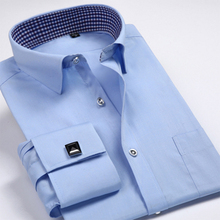 French Cuff Shirts Mens Formal Business Dress Shirt Solid Twill Party Wedding Tuxedo Shirts with Cufflinks