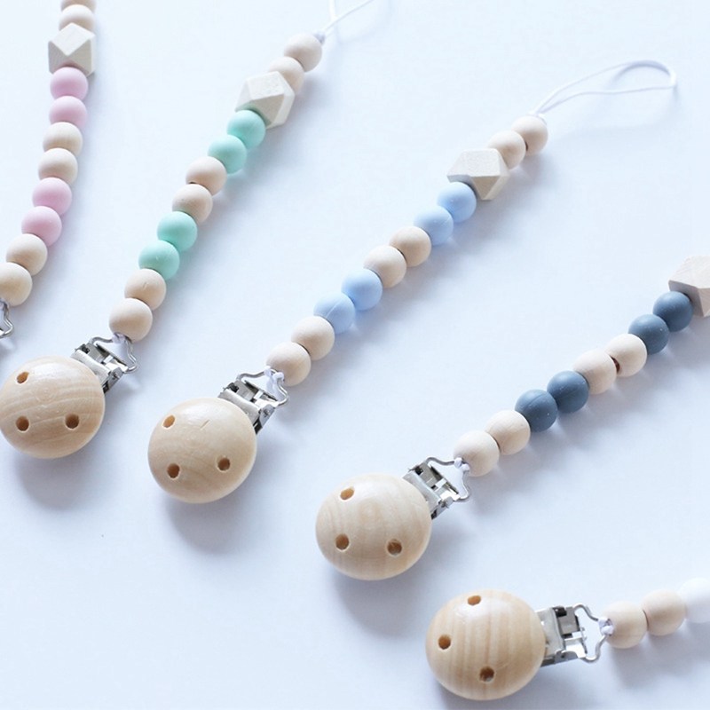 Baby Pacifier Clip Chain Wood Holder Chupetas Soother Pacifier Clips Leash Strap Nipple Holder For Infant Feeding