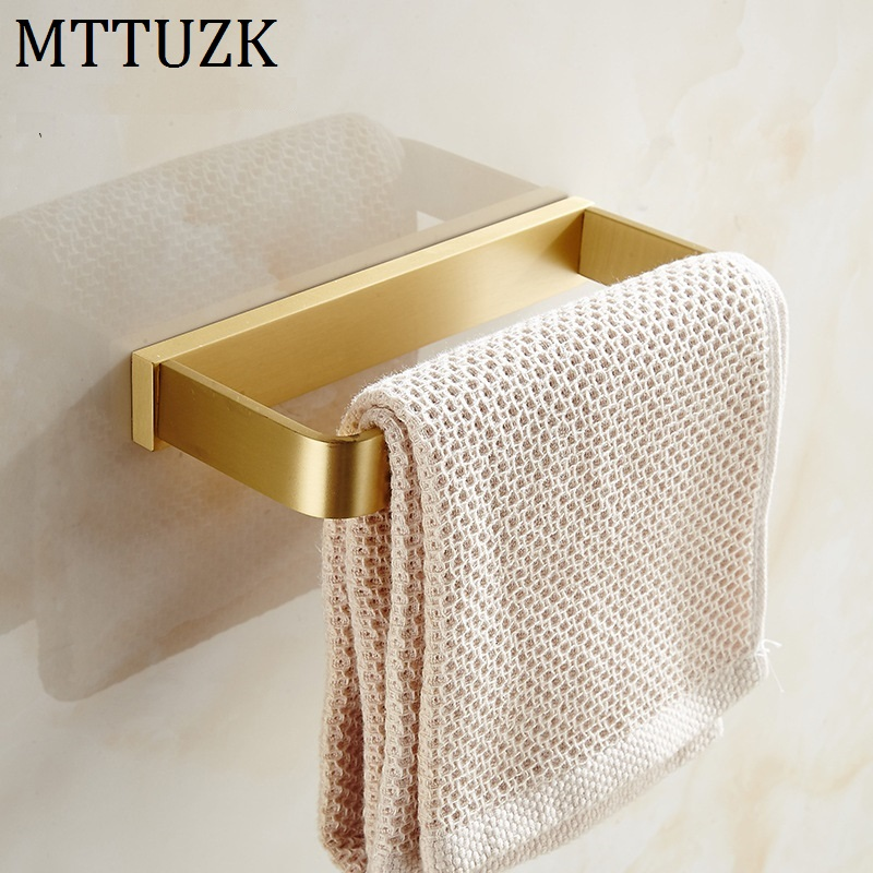 Mttuzk Solid Brass Brushed Gold Square Towel Ring Black