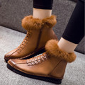 Brand New Autumn Winter Women Boots Fur Ankle Boots Ladies Leather Shoes Women Flats Casual Shoes For Women Female Winter Boots