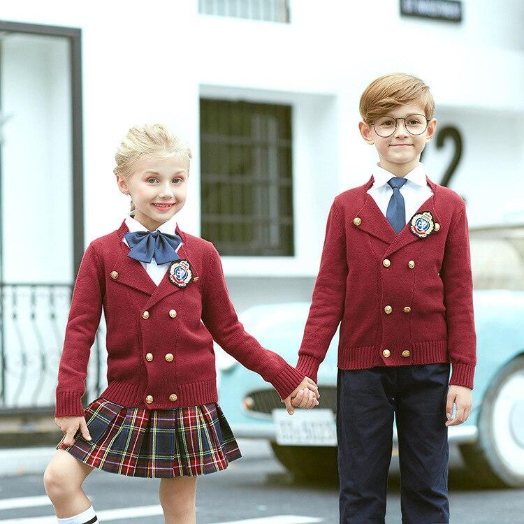 Enfant Style anglais uniforme scolaire enfants maternelle uniformes enfant école porter chandail 4 pièces chemise jupe pantalon cravate D-0625