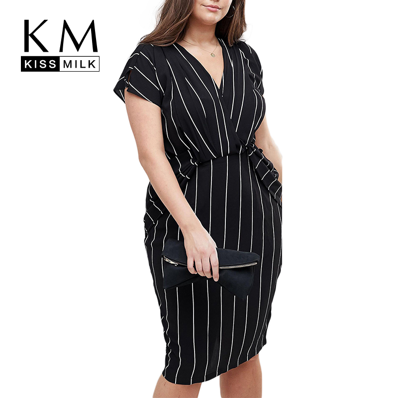 Kissmilk Plus Size Women Summer Vertical Stripe Wrap V Neck Ruffles Short Sleeve Bodycon Office Lady Midi Dress