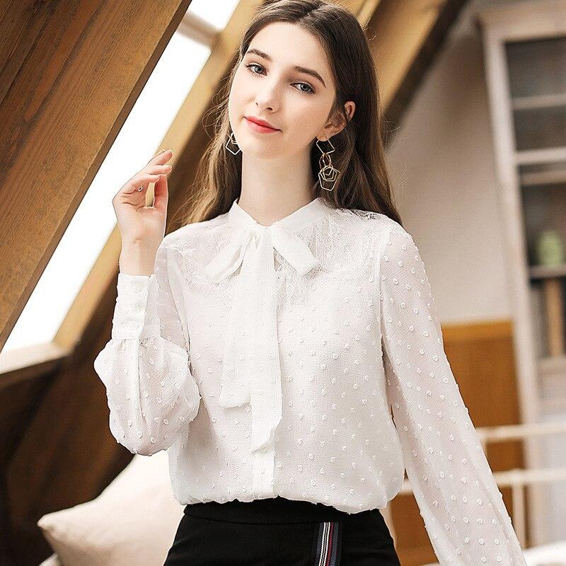 Encaje La En Blanco Blusa Manga 2019 Femininas Mujeres Moda Primavera Tops Blusas Camisas Elegante Larga Dama Gasa De Nueva Lazos Corbata APrAdqw