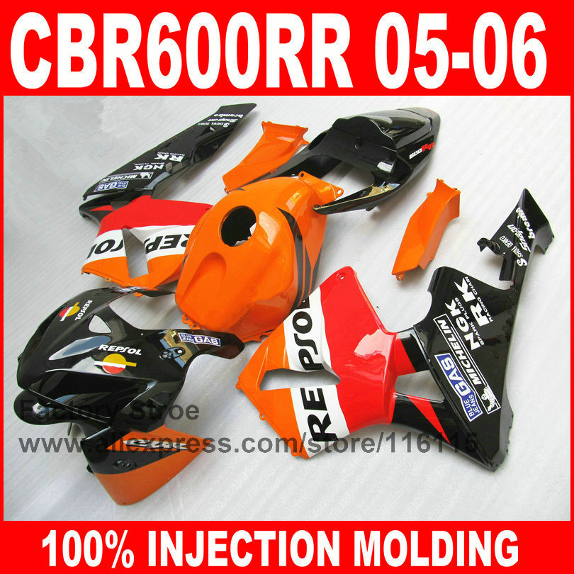 7gifts custom paint Injection Molding for HONDA 05 06 CBR 600 RR CBR600RR fairings kit 2005 2006 orange repsol fairing hull