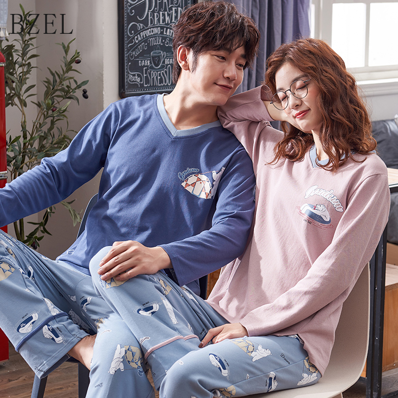 BZEL Couple Pajamas Set Spring And Autumn Cotton Cartoon Women Pyjamas Plus Size M-3XL Long Sleeve Sleepwear Men Lounge Pijamas