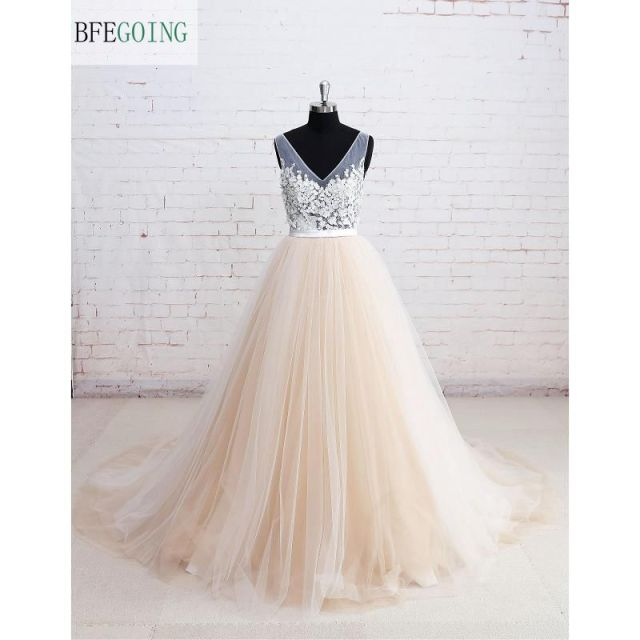 Champagne Tulle V Neck A line Wedding Dress Floor Length Chapel ...