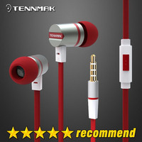 Tennmak Thứ Da Cầm Đỏ trong tai kim loại tai nghe & earbud với MIC & & & remote cho iPhone Samsung và HTC & Android & MP3 * Vận Chuyển Miễn Phí * New
