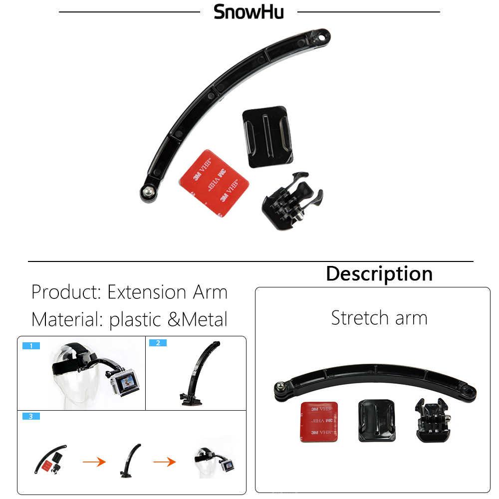 SnowHu-casco de extensión para ciclismo, adhesivo con hebilla para brazo para Gopro Hero 8 7 6 5 4 3 Xiaomi Yi 4k SJCAM GP78