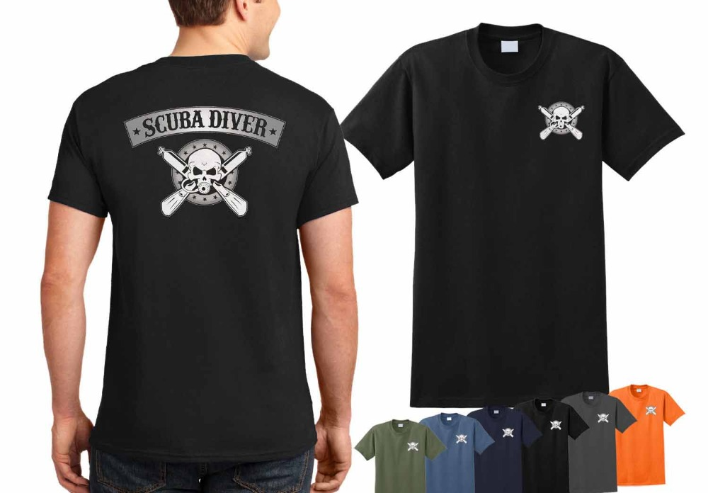2019 New Hot Sale T Shirts For Men Cotton Summer Style Scuba Diver T-Shirt - Scuba Dive Shirt  Scuba Dive Team Skull Shirt