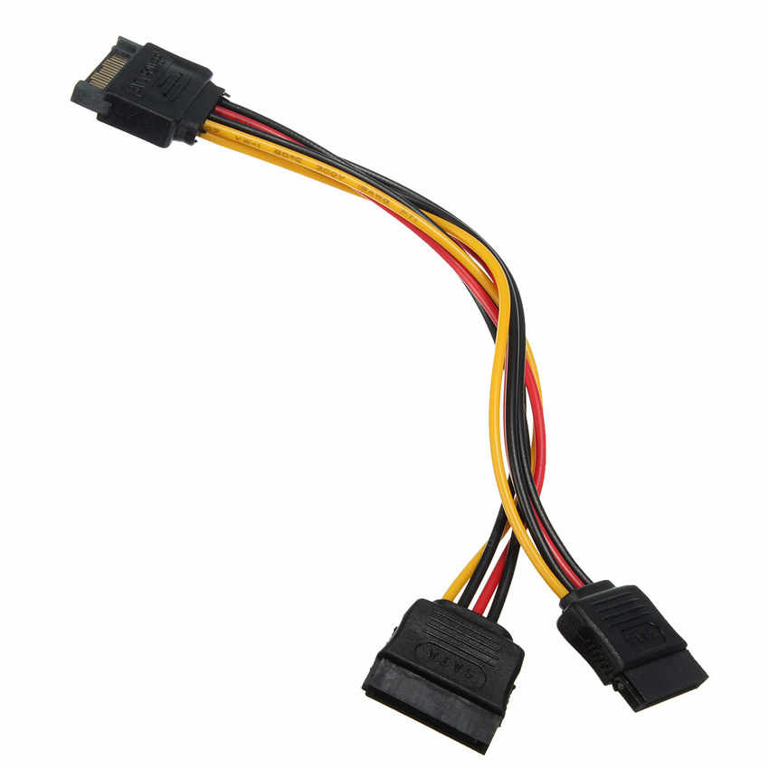 Jimier CY Cable SATA II Disco Duro alimentación macho a 2 hembra divisor Y Cable de extensión 1 a 2