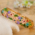 Big Bangles Indian Jewelry Fashion Bangles Very Nicely Rose Flower Puseira Femininos Love Bracelets Enamel Bridal Bracelet Women