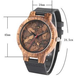 Image 3 - אופנתי Les Feuilles Mortes דפוס פנים עץ שעונים עבור גברים ונשים בציר בעבודת יד עץ זכר נקבה Quarzt שעון מתנה