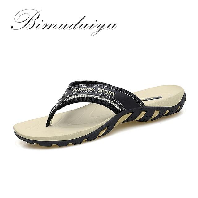 Bimuduiyu Лето 2017 г. Модные мужские Сланцы Anti-Slip пары ручной слово перетащите удобные классические массажные пляжные шлепанцы