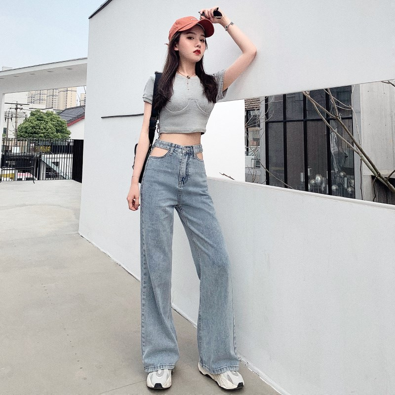Woman High Waist Wide Leg Pants Streetwear Hollow Out Denim Pants Loose  Casual Jeans