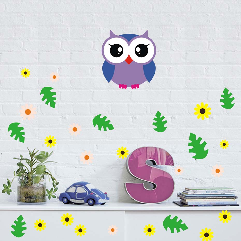 Cartoon Baby Owl Leaf Flower Wall Stickers For Kids Babies