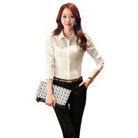 2017 Spring Women Blouses Shirt Black White Hollow Lace Long Sleeve Shirt Work Wear Women Feminina