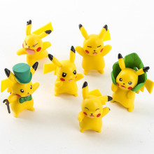 Christmas Toy Gift Hot Anime Pokemon Action Figure 4cm 6style of Pikachu Model Dolls Decorations