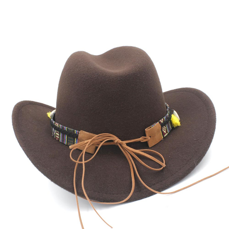 LUCKYLIANJI Child Kid Boy Girl Wool Felt 100% Western Cowboy Hat Wide Brim Cowgirl Cow Head Leather Band (One Size:54cm)