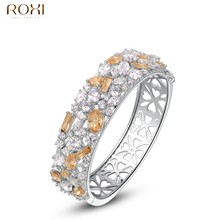 ROXI Bracelet Bangles For Women Luxury Champagne Gold Zircon Crystal Bracelet for Wedding Fashion Jewelry For Vacation Gift(China)